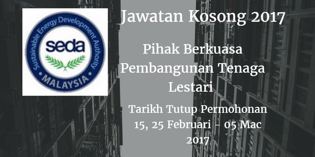 Jawatan Kosong SEDA 15, 25 Februari - 05 Mac 2017