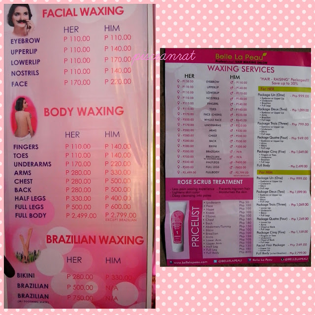 Belle La Peau Waxing Price List