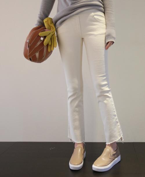 Asymmetrical Hem Semi-Boot Cut Pants