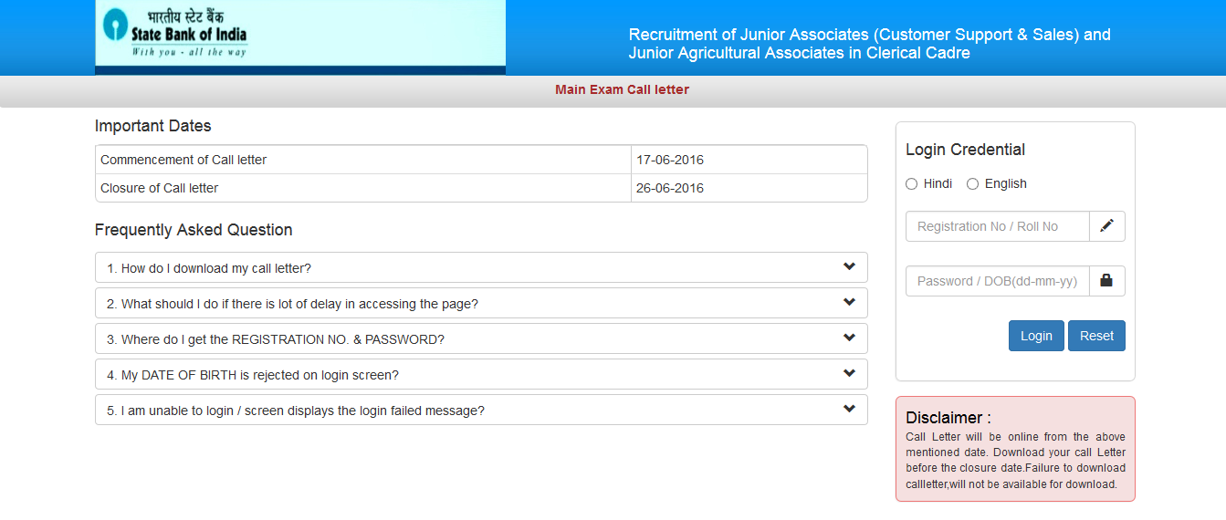 online application form for sbi associate bank clerk