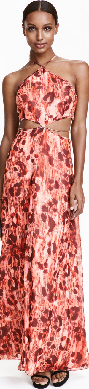 H&M Chiffon Maxi in Coral/Patterned