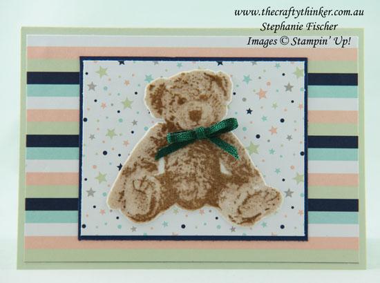 #thecraftythinker #stampinup #babycard #babybear #cardmaking #whitevelvetpaper , Baby Bear, White Velvet Paper, Baby Card, Stampin' Up Australia Demonstrator, Stephanie Fischer, Sydney NSW