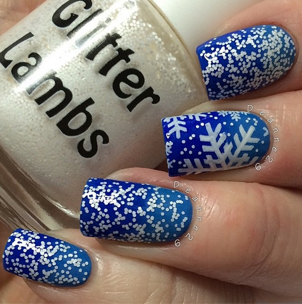 Christmas custom handmade indie lacquer for the holiday season. Blue Christmas snowflake nails.