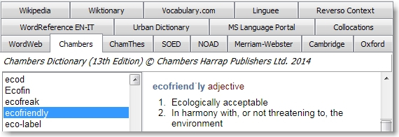 WordWeb Pro's tabs—with the dictionaries and searches I use