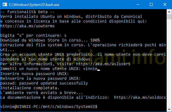 Scaricare e installare Bash Ubuntu in Windows 10