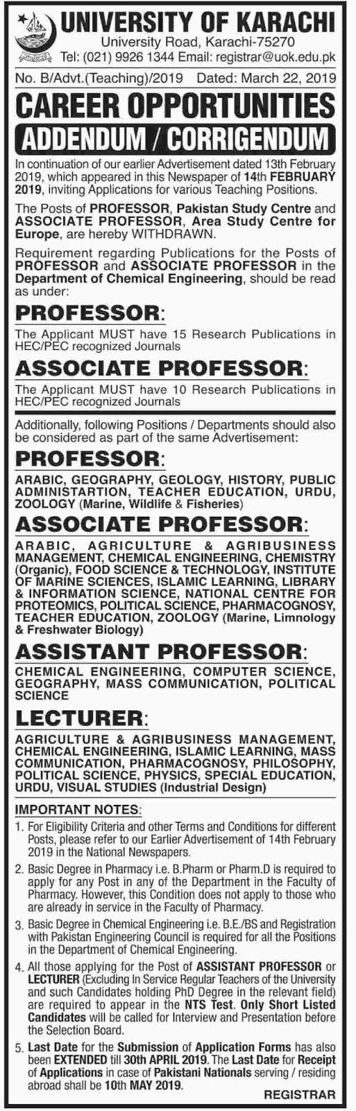➨ #Jobs - #Career_Opportunities - #Jobs at University of Karachi –for application visit the link