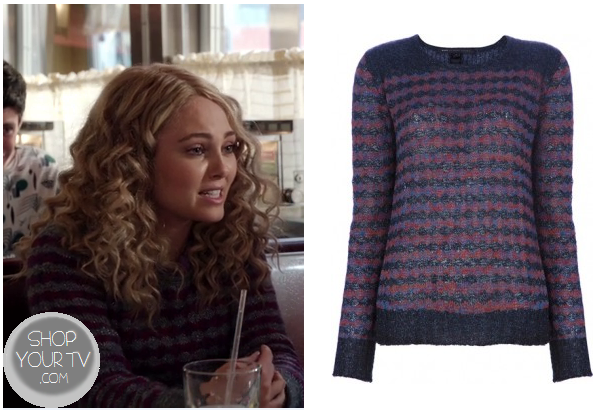 49a010e8ee91 Carrie Bradshaw (AnnaSophia Robb) wears this navy and red striped knit  sweater in this week s episode of The Carrie Diaries.