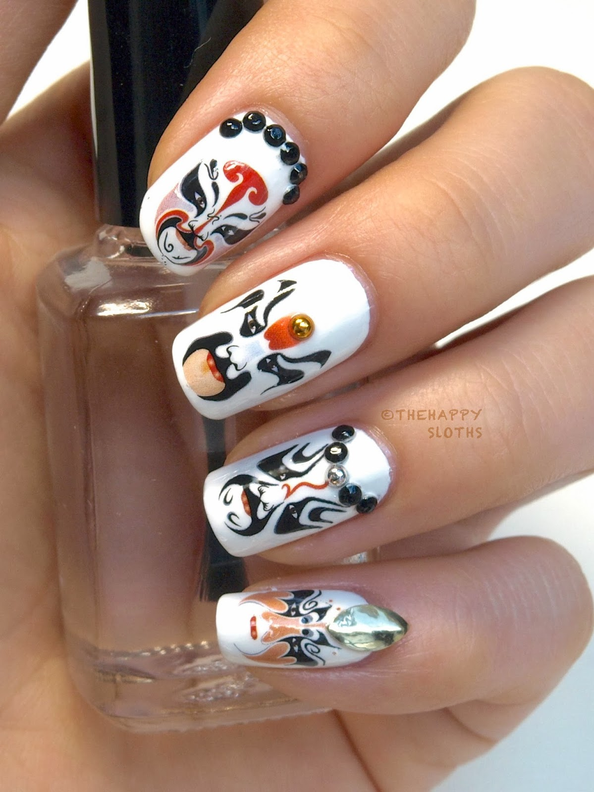 Beijing Opera Mask Nails: Manicure Featuring Water Decal