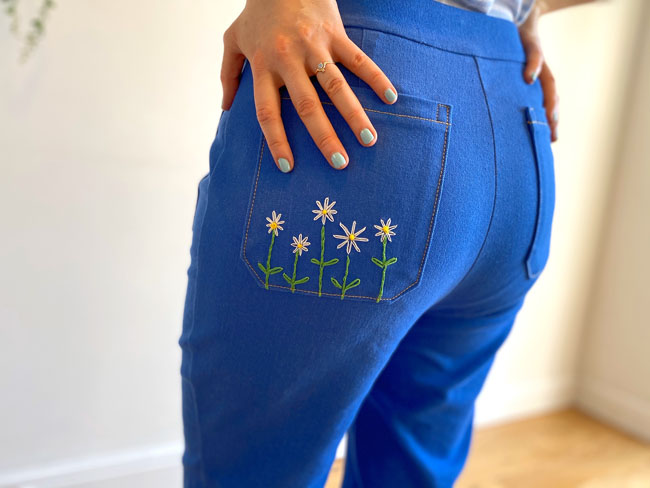 Daisy embroidered Jessa jeans