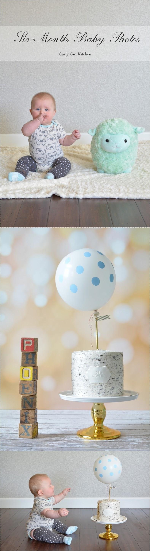 Six Month Baby Photos, Baby Boy, Birthday, Cake, Balloon, Polkadot