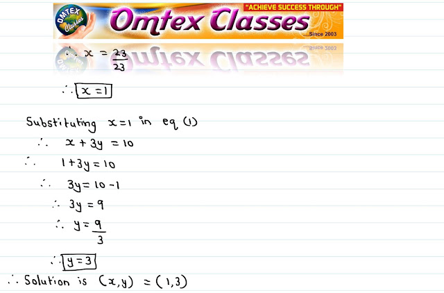 Solve the following simultaneous equations (1/3)x + y = 10/3; 2x + (1/4)y =11/4