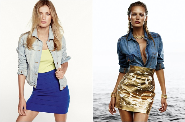 gold skirt and denim shirt, bandage skirts