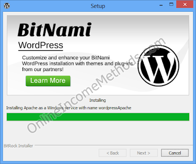 BitNami WordPress Stack Localhost - Windows Setup - Installing Apache as a Windows Service with name wordpressApache