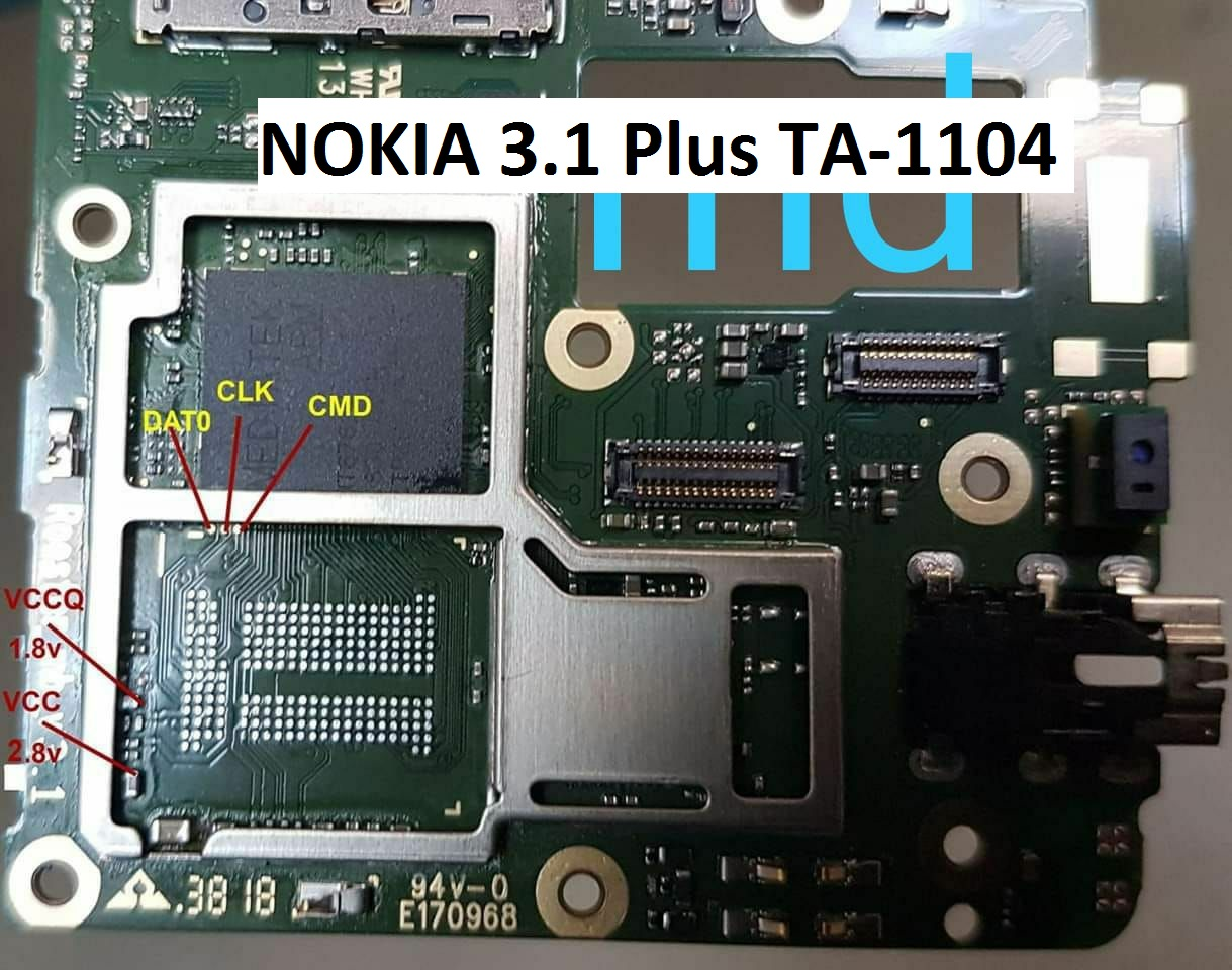 Nokia 3 1 Plus,TA-1104,EMMC PINOUT,ISP PIN OUT,DEAD RECOVER