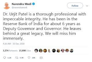 Narendra Modi Tweet about Urjit Patel