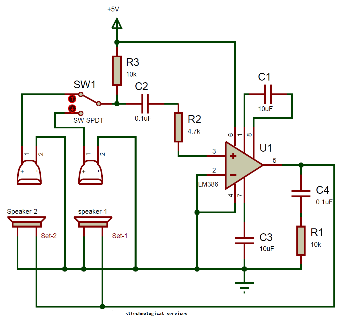 Simple Two Way Intercom Circuit Sl Technological Services The Breadboard Schematic Of Above Is Shown Below As You Can See Very And Be Easily Built Over A Main Concept Behind Use Lm386 Audio Amplifier