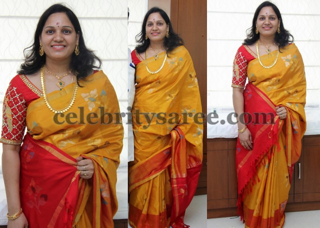 Mustard Uppada Saree Elbow Blouse