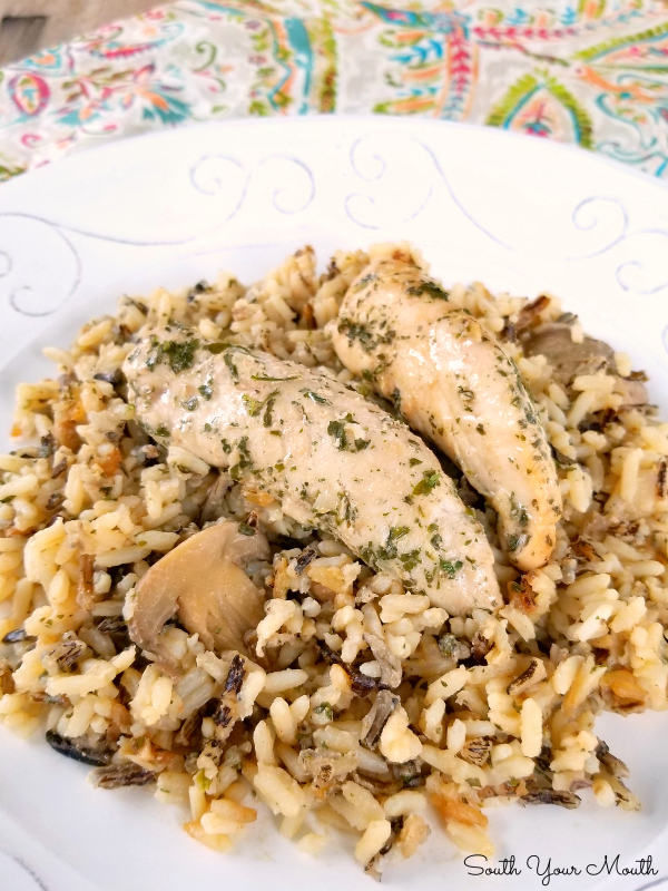 Slow Cooker Chicken & Mushroom Wild Rice Casserole | A delicious casserole recipe with wild rice, chicken tenderloins and mushrooms made easy in a crock pot.