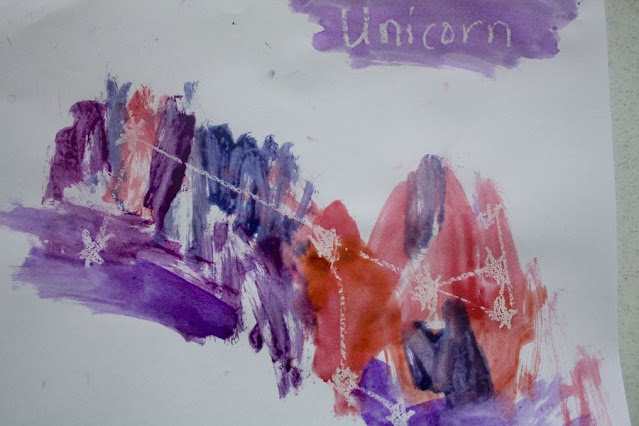 Unicorn constellation in wax resist watercolor
