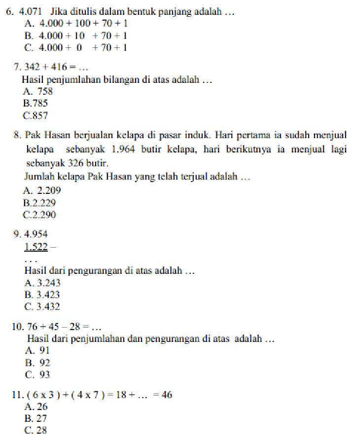 Soal Dan Jawaban Latihan Uas Matematika Kelas 3 Sd Semester 1 Serba Serbi Guru