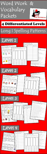 Free long I spelling and vocabulary set with four differentiated levels where students learn the meaning and spelling of words while working on writing, reading and revising. - Free download from Raki's Rad Resources.