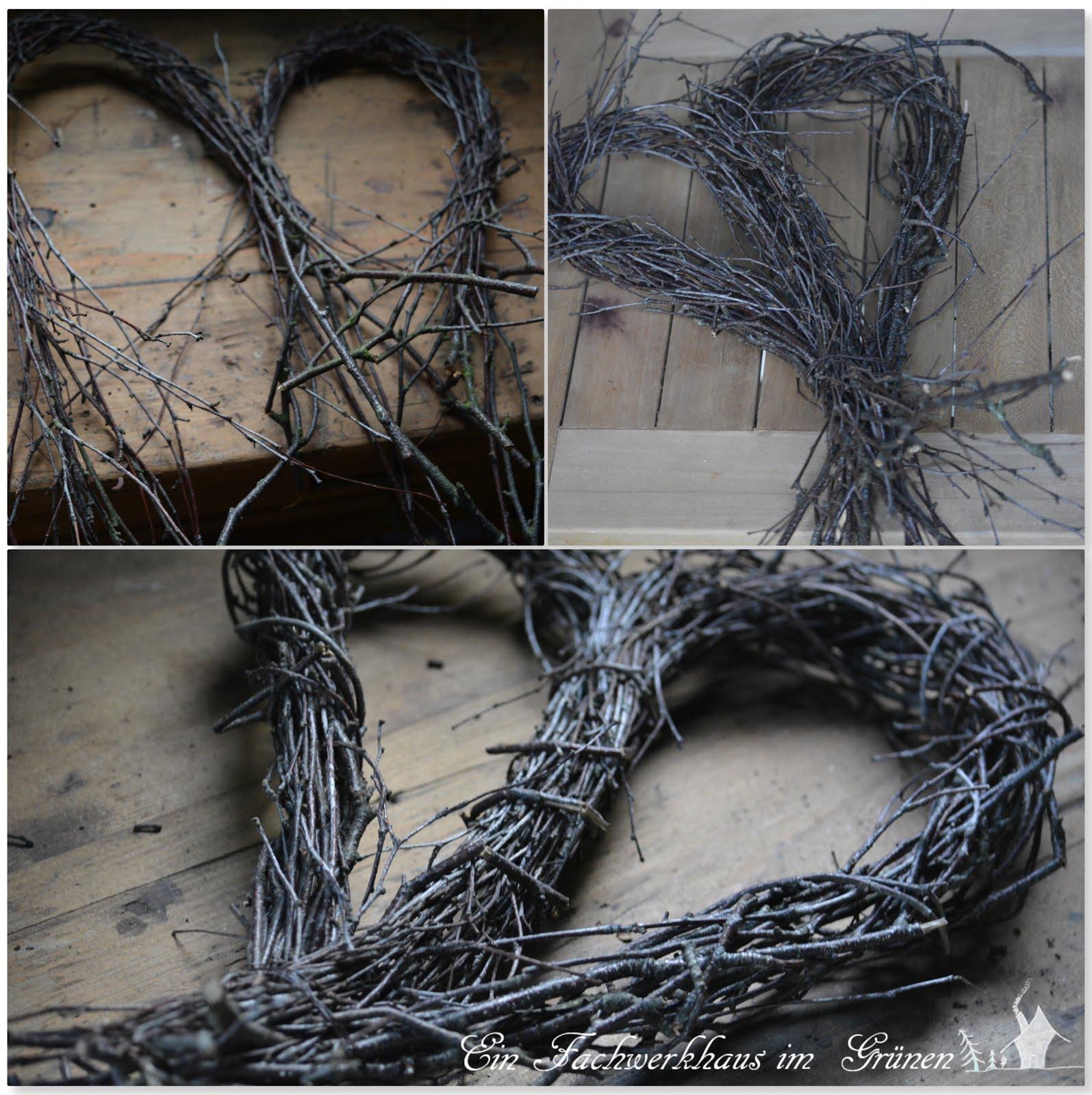 Birkenzweige, Basteln mit Naturmaterialien, Herz
