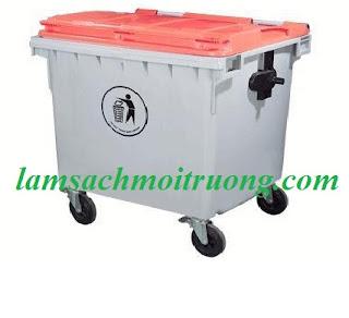 Xe gom rác 660 lít, xe đẩy rác nhựa, xe gom rác nhựa Composite giá rẻ