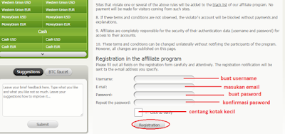 Lengkapi form pendaftaran bestchange