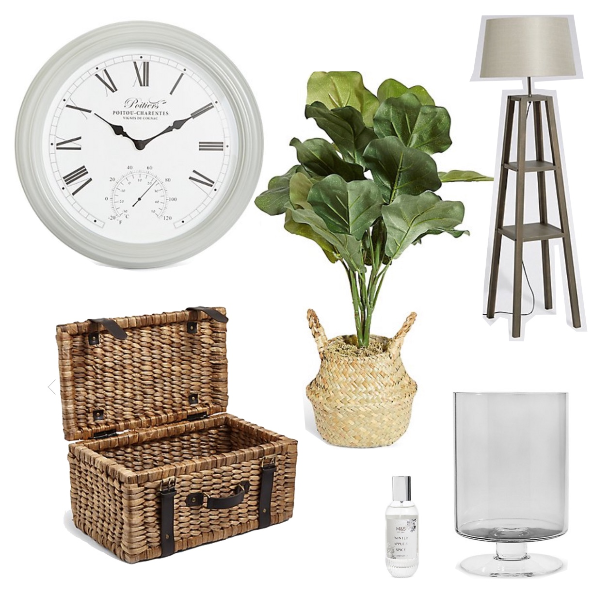 my midlife fashion, marks and spencer, marks and spencer homeware, marks and spencer large footed hurricane, marks and spencer water hyacinth suitcase storage box, marks and spencer medium fiddle leaf fig tree, marks and spencer large poitier wall clock, marks and spencer theo grey wood shelves floor lamp