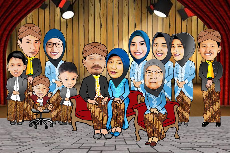 Pesan Karikatur Murah Karikatur Keluarga Besar