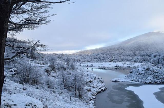 Paisagem de Ushuaia no inverno