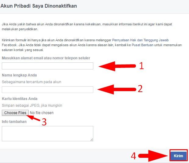 cara mengaktifkan kembali akun facebook yang terblokir