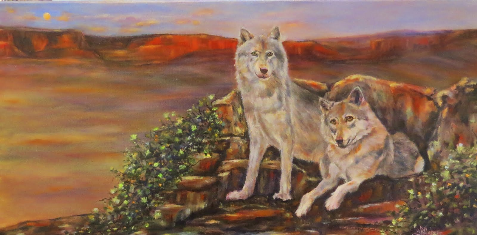 Two Wolves and a Sunset