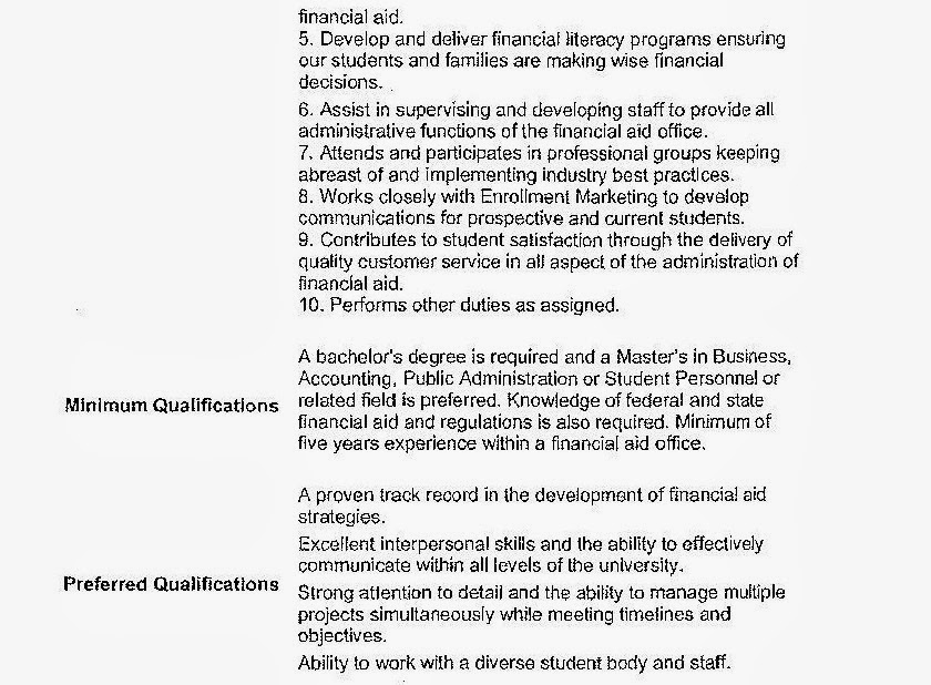 CSU Faculty Voice Here\u0027s Another Falsified Resume From the Current - financial aid assistant sample resume