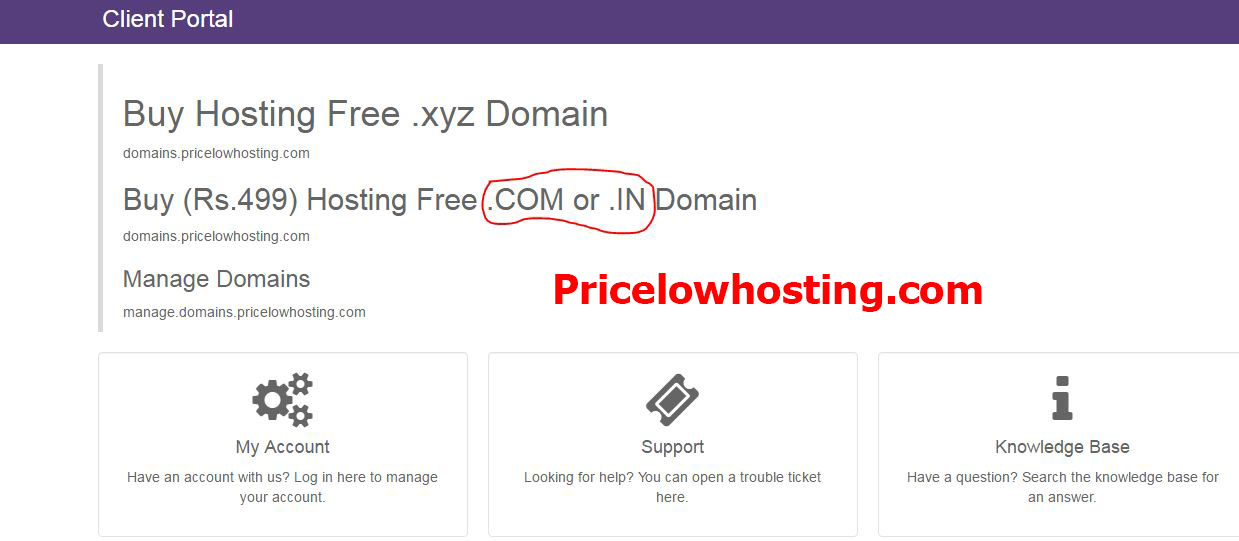 free .com or .in domain