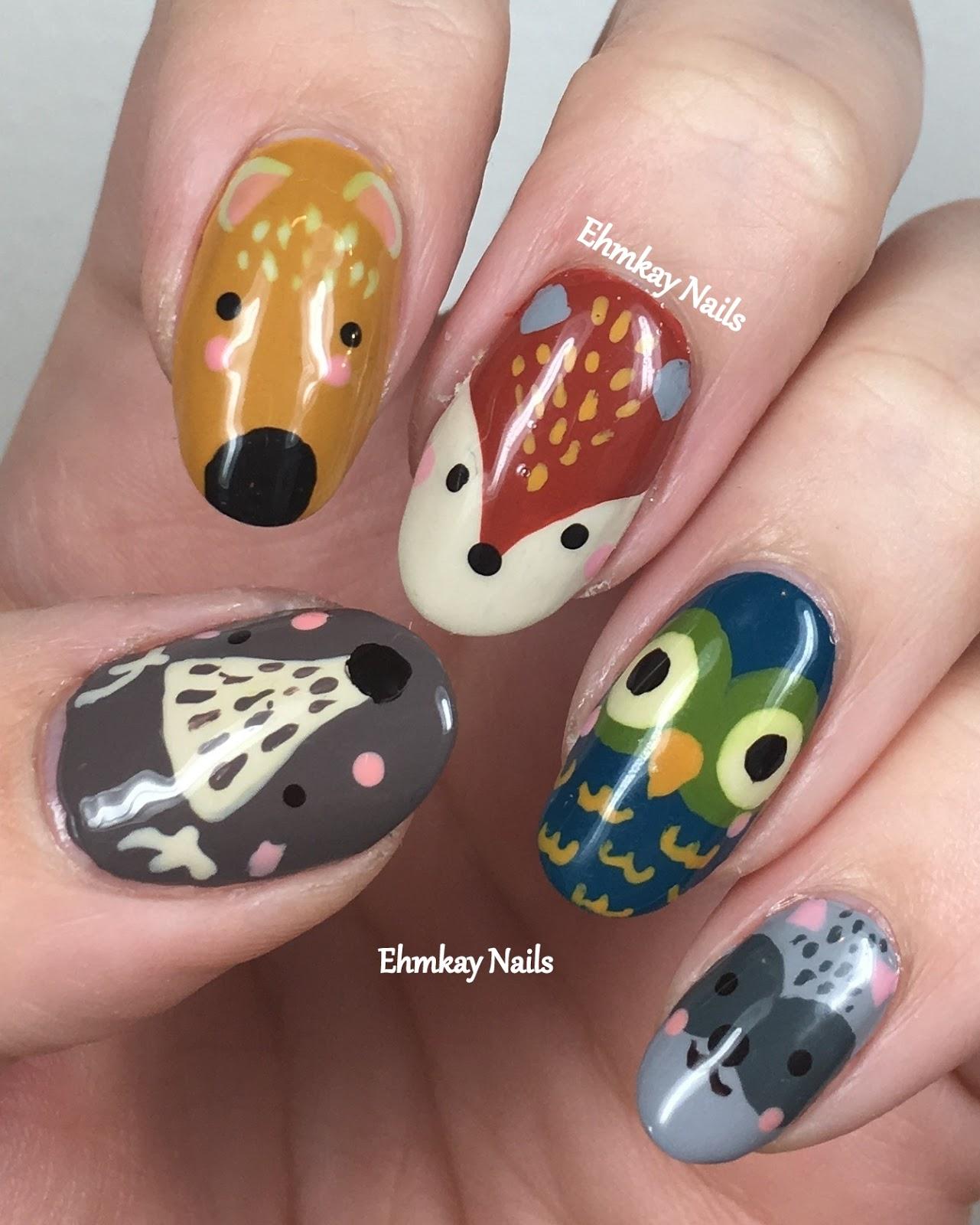 Ehmkay nails woodland creatures nail art with girly bits autumn woodland creatures nail art with girly bits autumn cremes prinsesfo Gallery