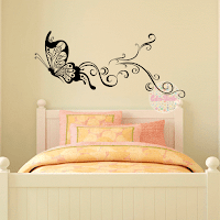 vinilo decorativo mariposa ornamental floral pared