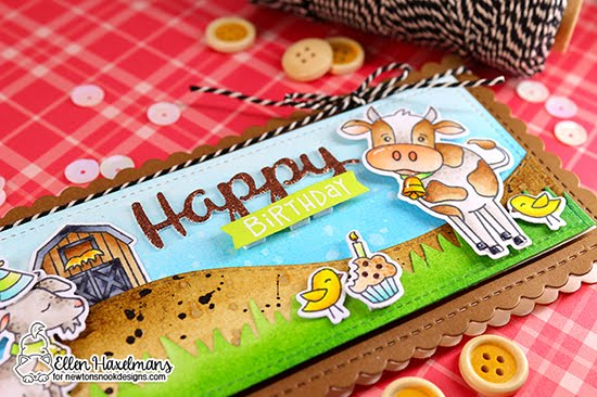 Happy Birthday on the Farm Card by Ellen Haxelmans | Bleat Stamp Set, Moo Stamp Set, Neigh Stamp Set, Land Borders Die Set and Slimline Frames & Portholes Die Set by Newton's Nook Designs #newtonsnook #handmade