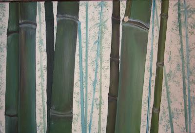 hiperrealismo, pintura decoracion, cañas de bambu pintadas, pintura de cuadros