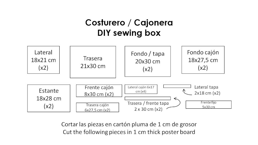 piezas costurero sewing box pieces
