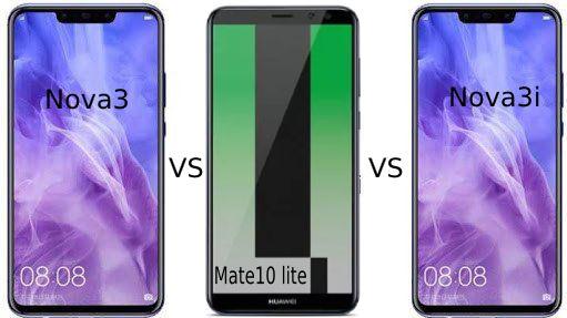 مقارنة بين اقوي موابايلات هواوي nova 3 و nova 3i و mate 10 lite