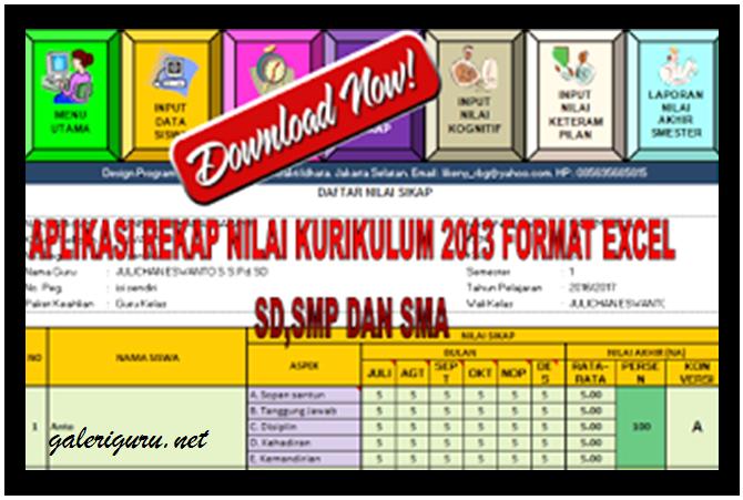 Aplikasi Rekap nilai Kurikulum 2013 Jenjang SD, SMP, SMA