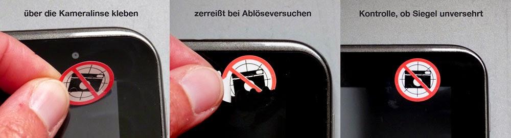 Sicherheitssiegel fotografieren verboten