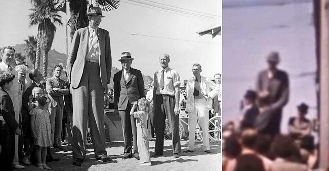 Ένα σπάνιο έγχρωμο βίντεο με τον υψηλότερο άνθρωπο στη Γη, που πέθανε το 1940 + φώτο