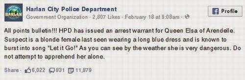 A polícia de Kentucky faz Frozen uma suspeita!