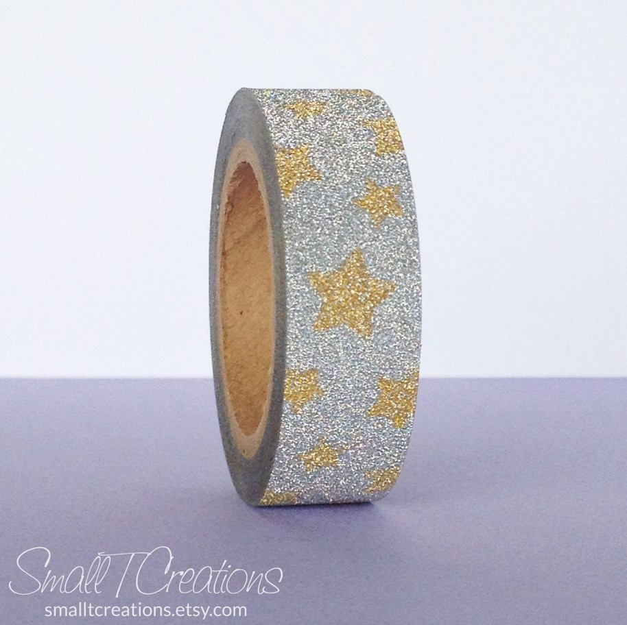 Silver with Gold Stars Glitter Washi Tape by Small T Creations on Etsy https://www.etsy.com/listing/207536370/silver-with-gold-star-glitter-tape?ref=shop_home_active_1