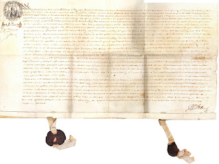 Bond from Antwerp issued in 1664 is handwritten on parchment