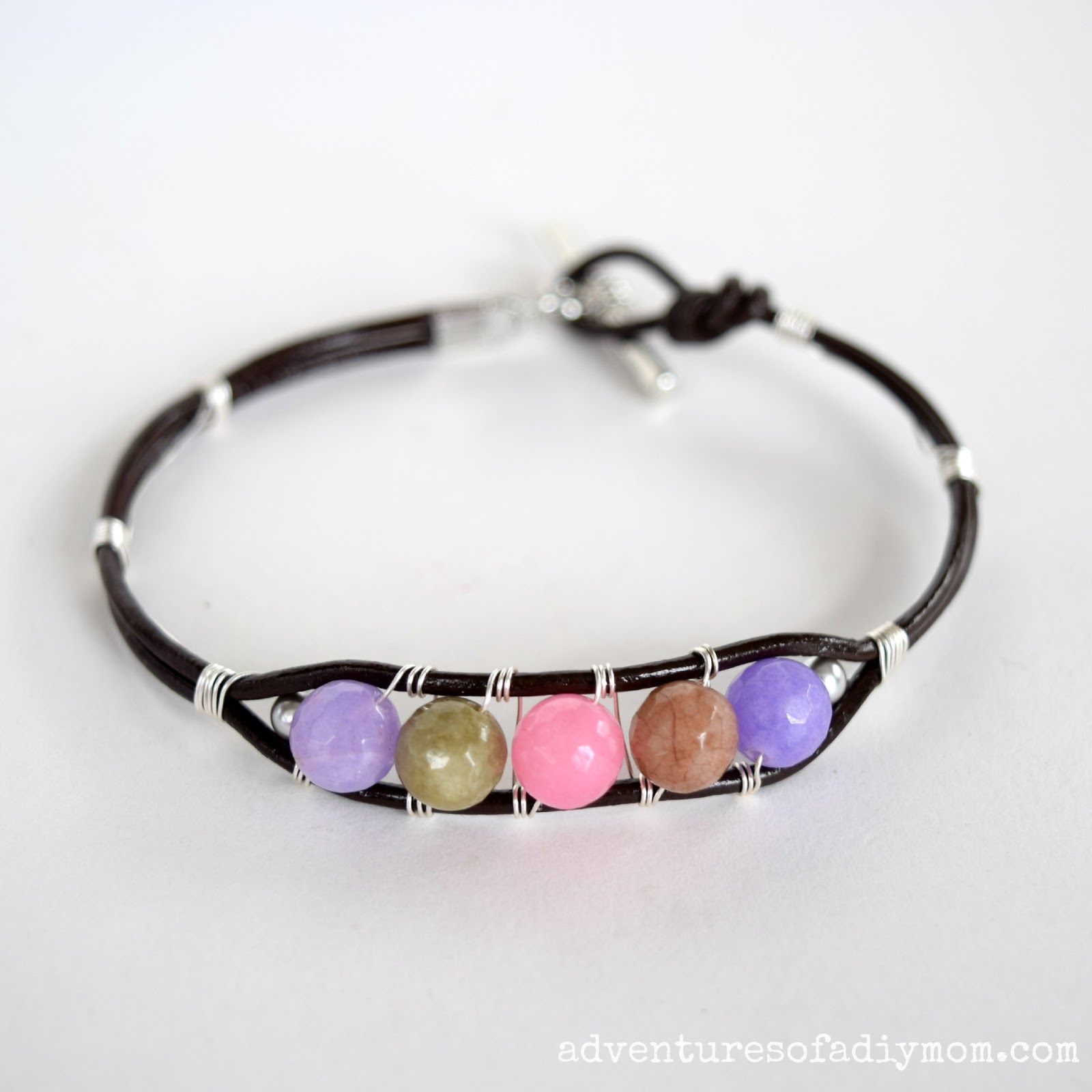 Leather Cord and Bead Bracelet - Adventures of a DIY Mom