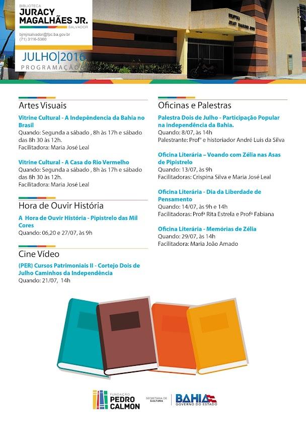 Confira a programação do mês de Julho da Biblioteca Juracy Magalhães Jr