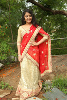 Akshara in Red Saree Golden Choli at LV Movie Makers Production No 1 Movie Opening ~  Exclusive 122.JPG